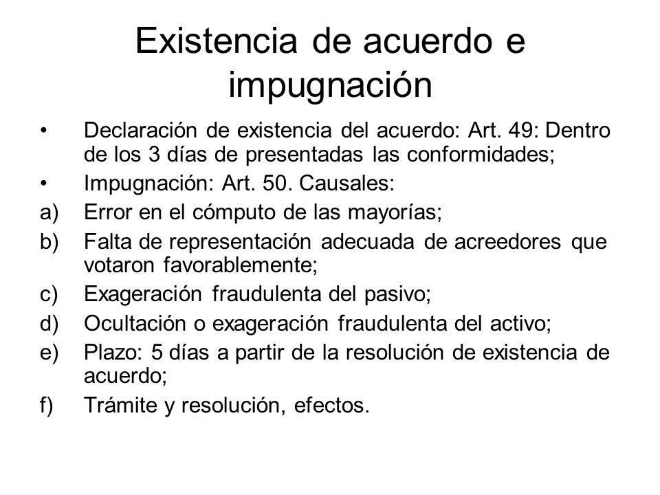 Existencia de acuerdo e impugnación Declaración de existencia del acuerdo: Art. 49: Dentro de los 3 días de presentadas las conformidades; Impugnación