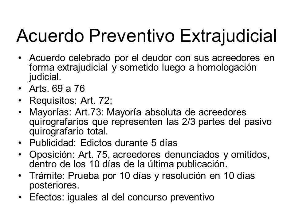 Acuerdo Preventivo Extrajudicial Acuerdo celebrado por el deudor con sus acreedores en forma extrajudicial y sometido luego a homologación judicial. A