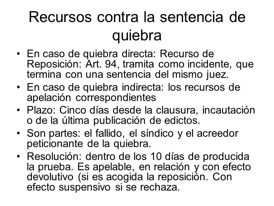 Recursos contra la sentencia de quiebra En caso de quiebra directa: Recurso de Reposición: Art. 94, tramita como incidente, que termina con una senten