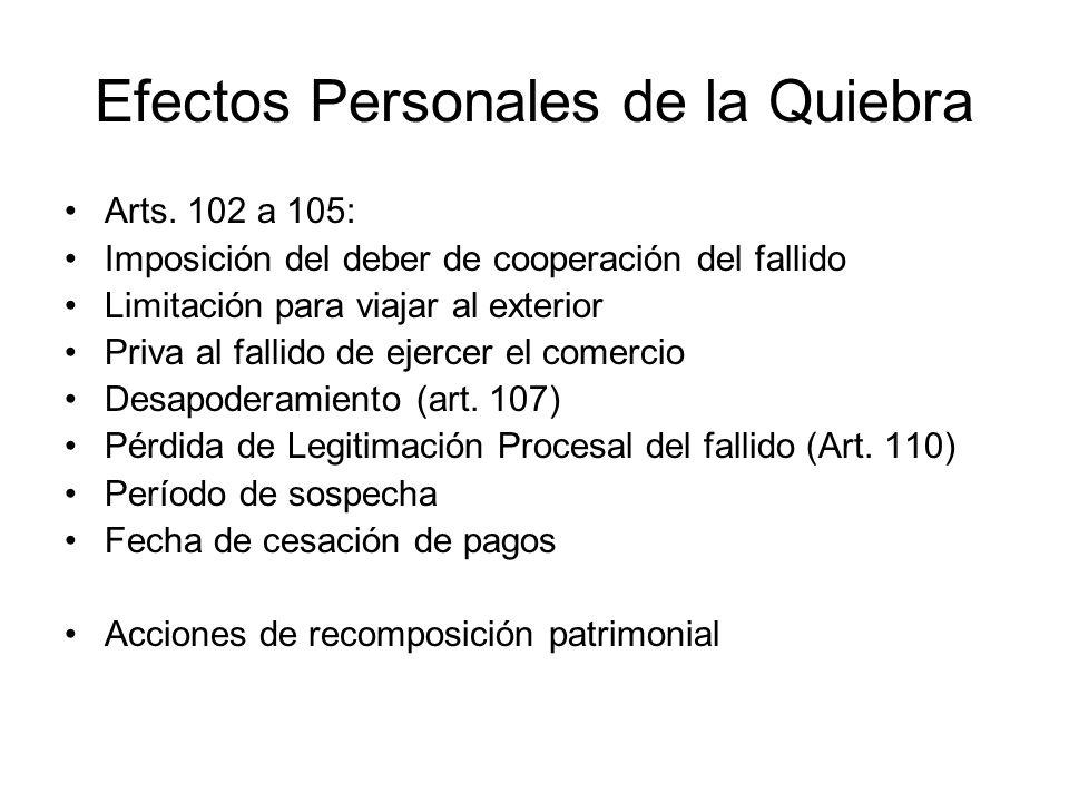 Efectos Personales de la Quiebra Arts. 102 a 105: Imposición del deber de cooperación del fallido Limitación para viajar al exterior Priva al fallido