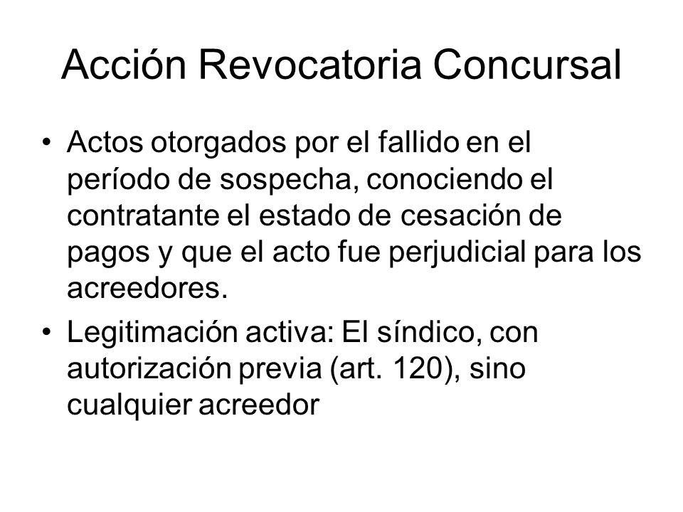 Acción Revocatoria Concursal Actos otorgados por el fallido en el período de sospecha, conociendo el contratante el estado de cesación de pagos y que