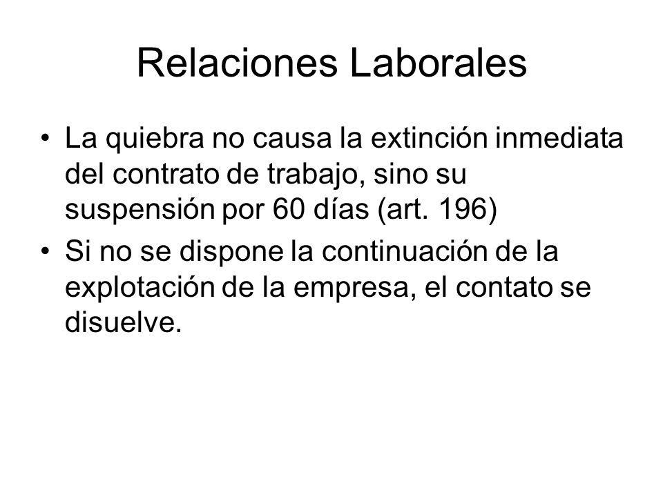 Relaciones Laborales La quiebra no causa la extinción inmediata del contrato de trabajo, sino su suspensión por 60 días (art. 196) Si no se dispone la