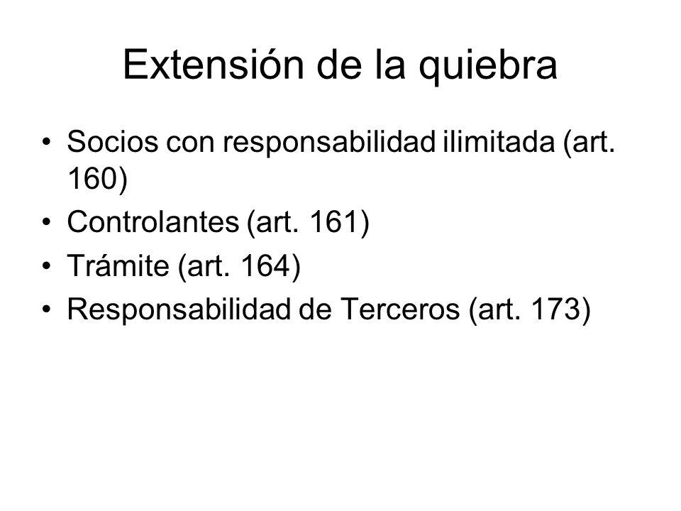 Extensión de la quiebra Socios con responsabilidad ilimitada (art. 160) Controlantes (art. 161) Trámite (art. 164) Responsabilidad de Terceros (art. 1