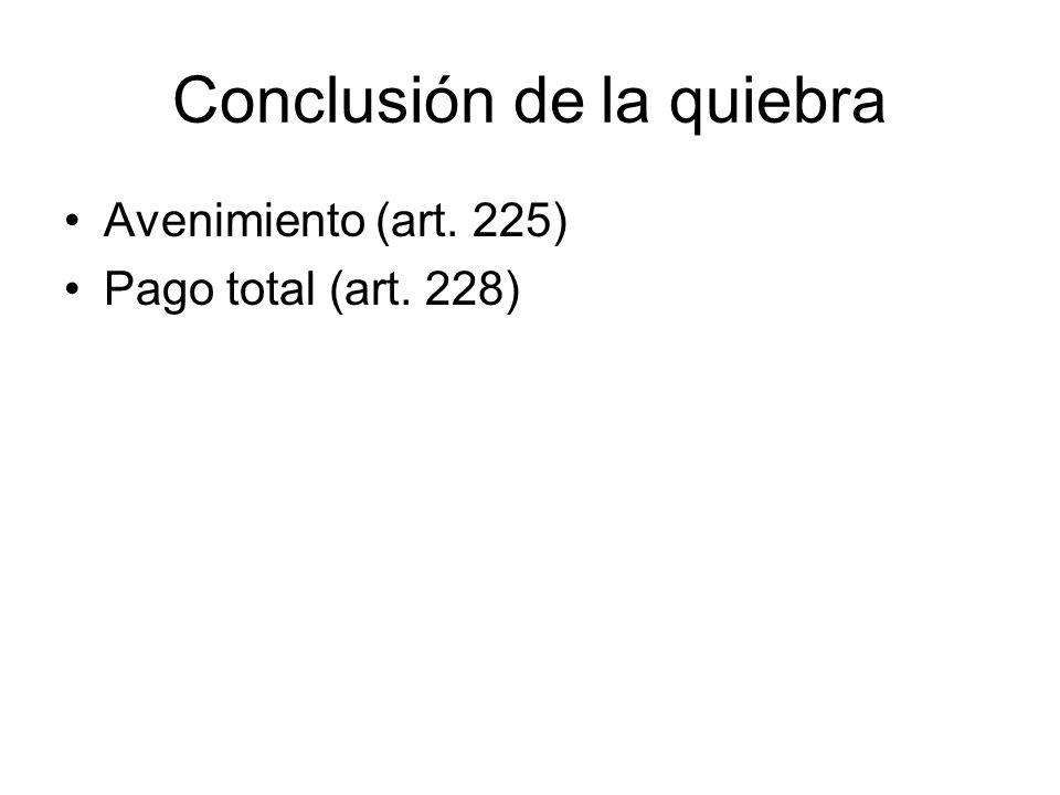Conclusión de la quiebra Avenimiento (art. 225) Pago total (art. 228)
