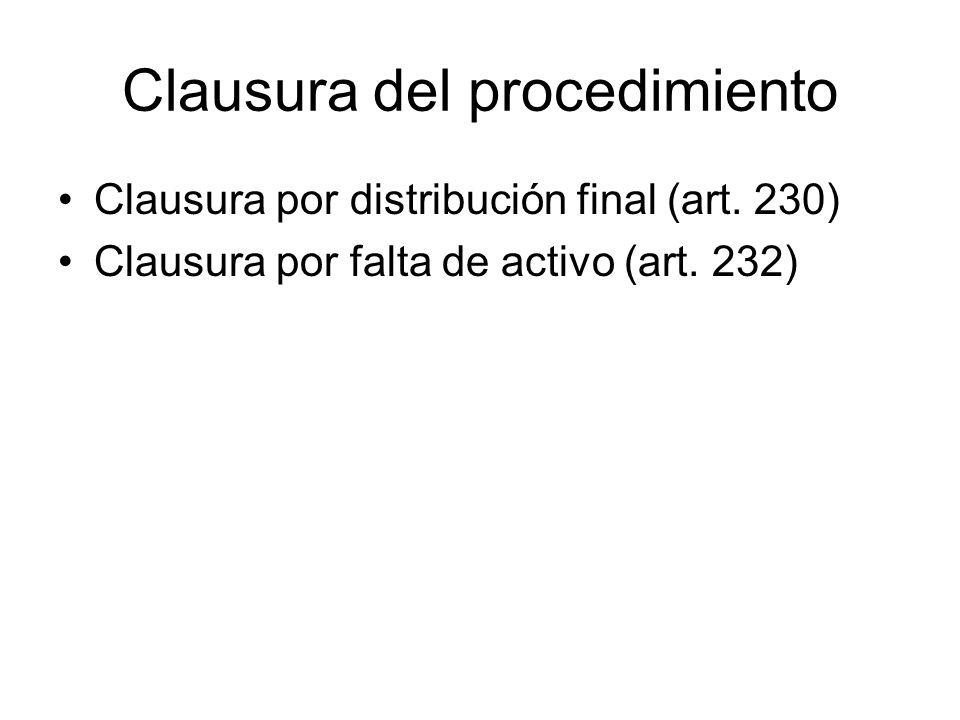 Clausura del procedimiento Clausura por distribución final (art. 230) Clausura por falta de activo (art. 232)