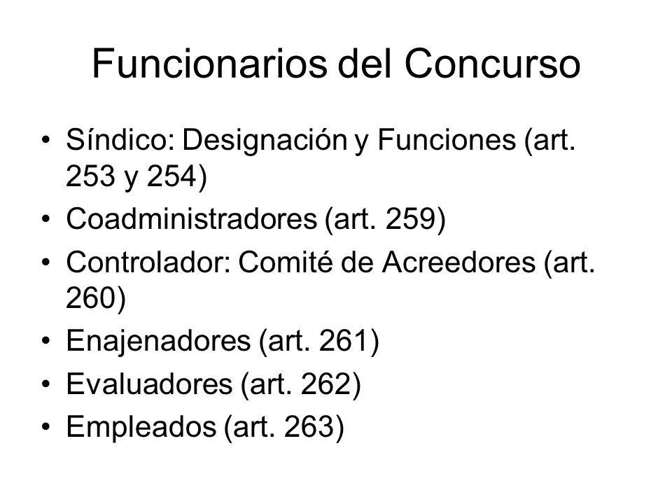 Funcionarios del Concurso Síndico: Designación y Funciones (art. 253 y 254) Coadministradores (art. 259) Controlador: Comité de Acreedores (art. 260)