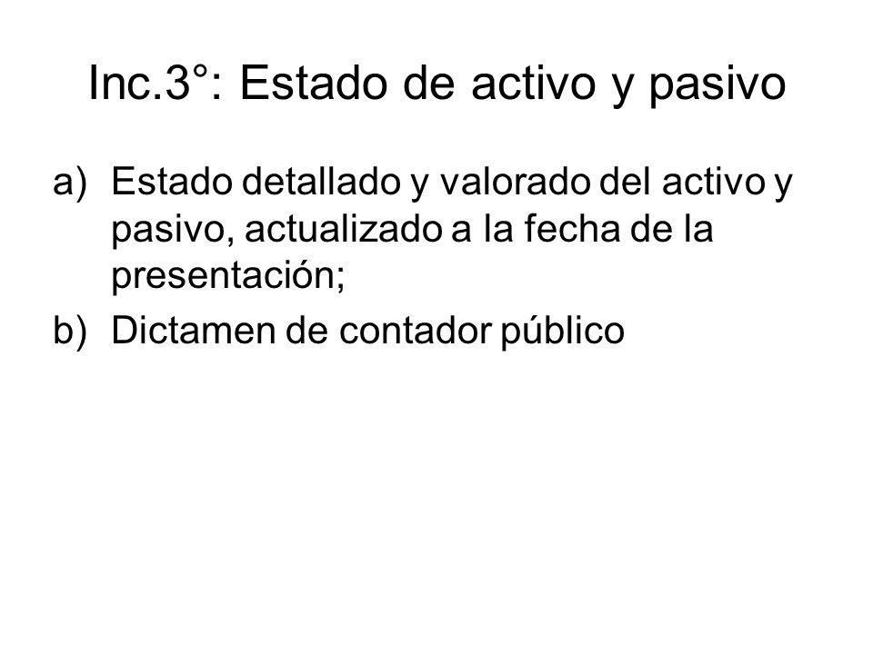 Inc.3°: Estado de activo y pasivo a)Estado detallado y valorado del activo y pasivo, actualizado a la fecha de la presentación; b)Dictamen de contador