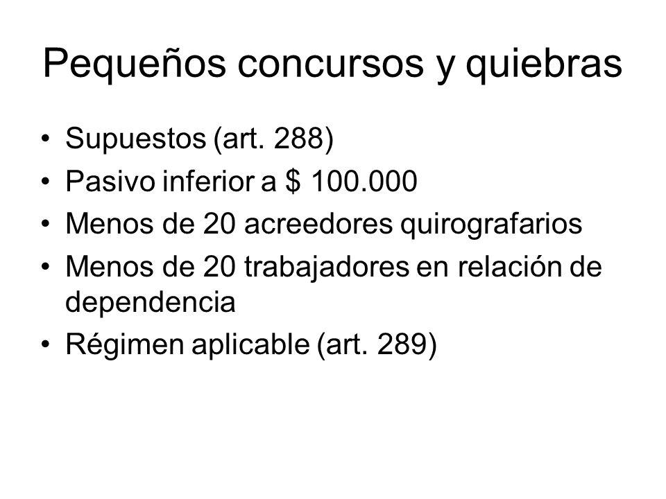 Pequeños concursos y quiebras Supuestos (art. 288) Pasivo inferior a $ 100.000 Menos de 20 acreedores quirografarios Menos de 20 trabajadores en relac