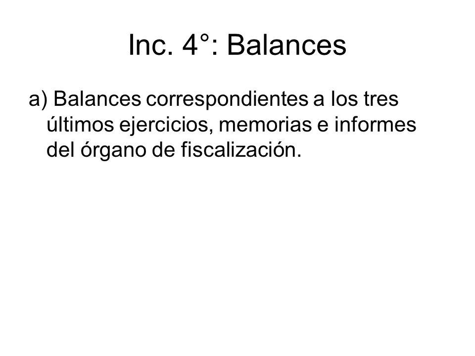 Inc. 4°: Balances a) Balances correspondientes a los tres últimos ejercicios, memorias e informes del órgano de fiscalización.
