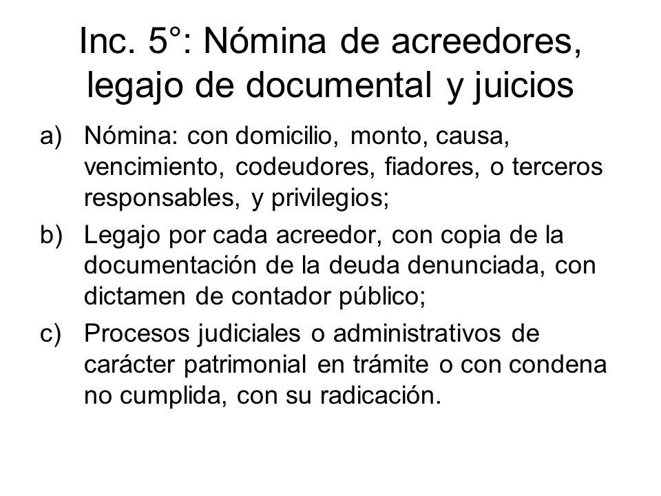 Inc. 5°: Nómina de acreedores, legajo de documental y juicios a)Nómina: con domicilio, monto, causa, vencimiento, codeudores, fiadores, o terceros res