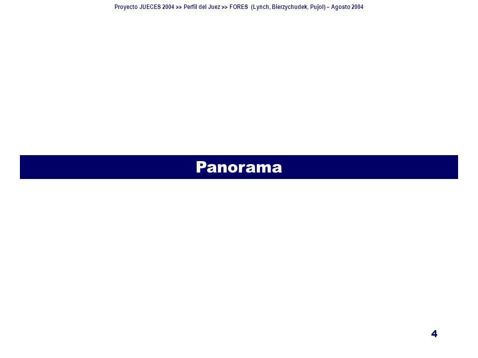 Proyecto JUECES 2004 >> Perfil del Juez >> FORES (Lynch, Bierzychudek, Pujol) – Agosto 2004 5 Designaciones Información del Consejo de la Magistratura (actualización al 11 de agosto de 2004).