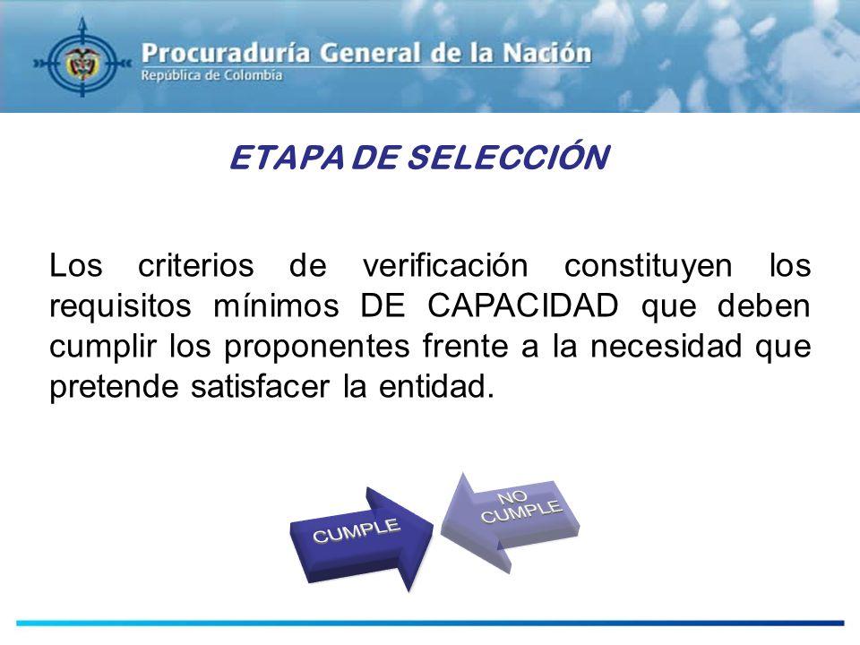 ESTUDIOS PREVIOS ETAPA DE SELECCIÓN Los criterios de verificación constituyen los requisitos mínimos DE CAPACIDAD que deben cumplir los proponentes fr