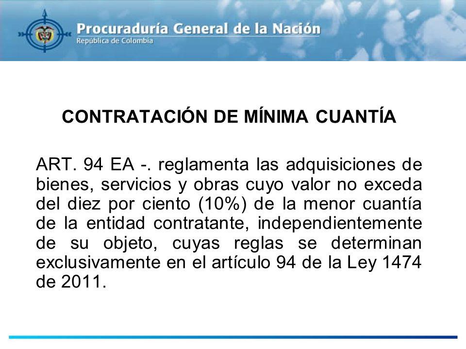 CONTRATACIÓN DE MÍNIMA CUANTÍA ART. 94 EA -. reglamenta las adquisiciones de bienes, servicios y obras cuyo valor no exceda del diez por ciento (10%)