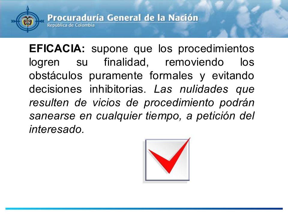 EFICACIA: supone que los procedimientos logren su finalidad, removiendo los obstáculos puramente formales y evitando decisiones inhibitorias. Las nuli