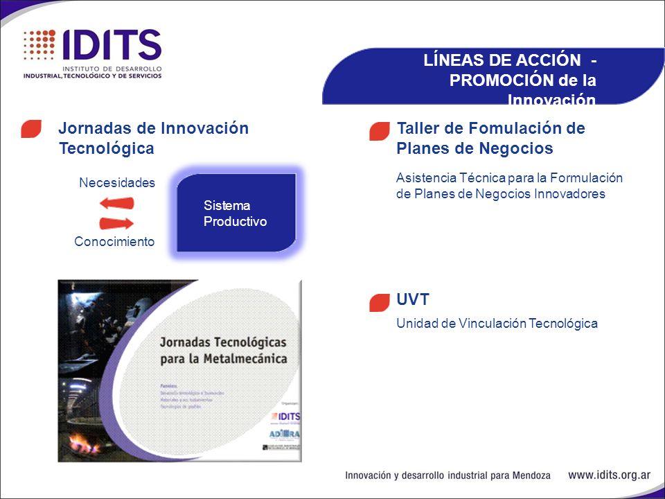 LÍNEAS DE ACCIÓN - PROMOCIÓN de la Innovación Taller de Fomulación de Planes de Negocios Jornadas de Innovación Tecnológica Asistencia Técnica para la Formulación de Planes de Negocios Innovadores UVT Unidad de Vinculación Tecnológica Necesidades Conocimiento Sistema Productivo