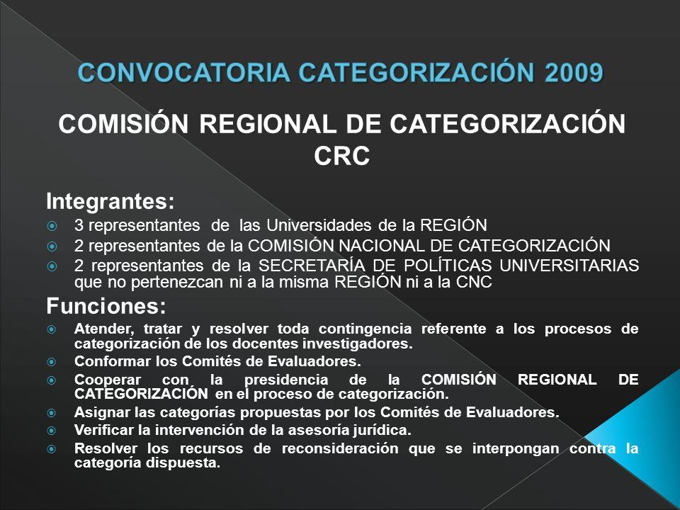 COMISIÓN REGIONAL DE CATEGORIZACIÓN CRC Integrantes: 3 representantes de las Universidades de la REGIÓN 2 representantes de la COMISIÓN NACIONAL DE CATEGORIZACIÓN 2 representantes de la SECRETARÍA DE POLÍTICAS UNIVERSITARIAS que no pertenezcan ni a la misma REGIÓN ni a la CNC Funciones: Atender, tratar y resolver toda contingencia referente a los procesos de categorización de los docentes investigadores.