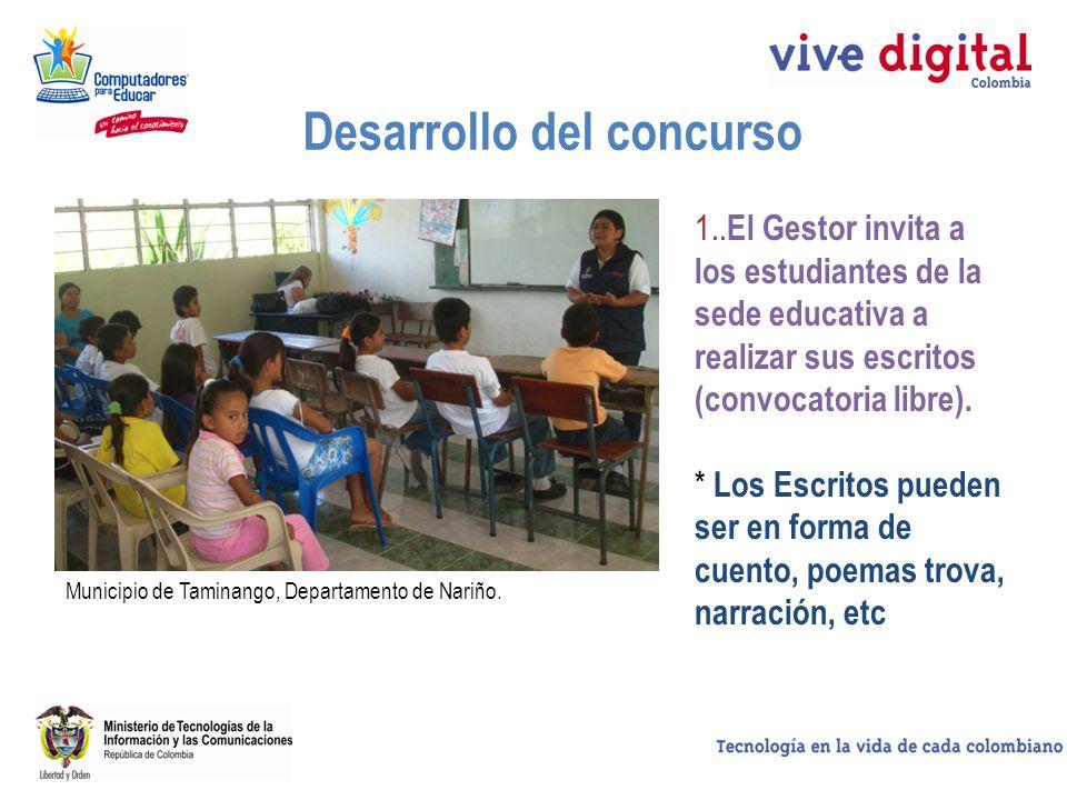 Desarrollo del concurso 1.. El Gestor invita a los estudiantes de la sede educativa a realizar sus escritos (convocatoria libre). * Los Escritos puede
