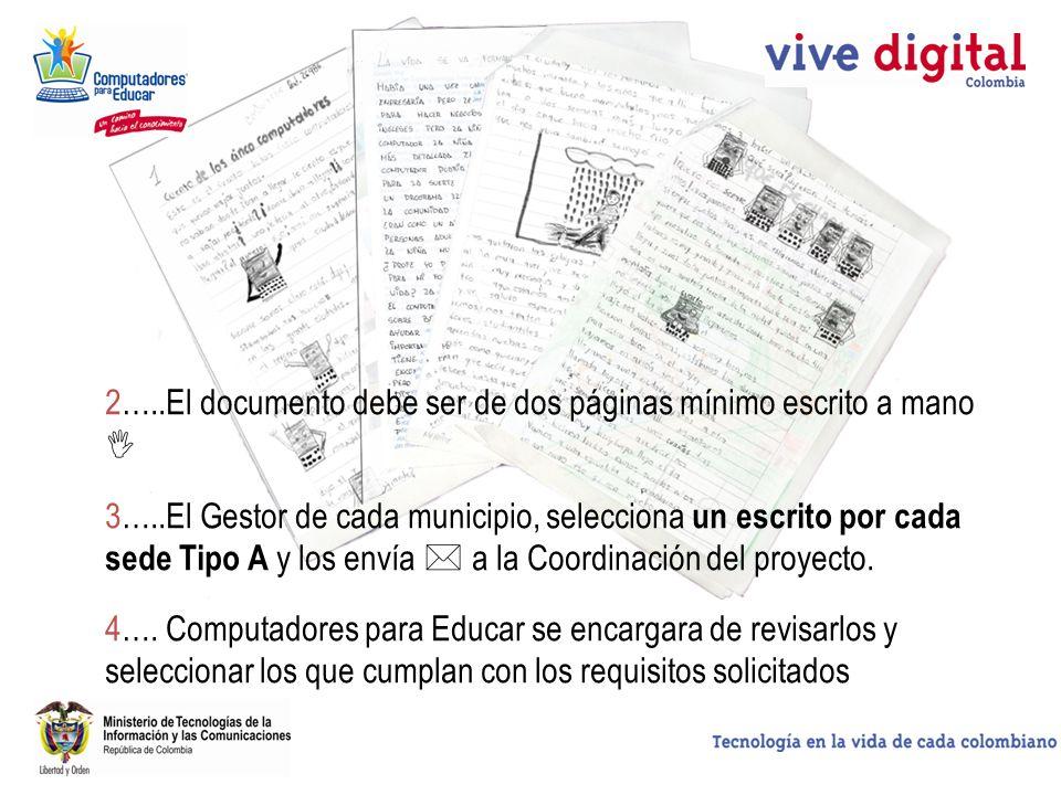 2…..El documento debe ser de dos páginas mínimo escrito a mano 3…..El Gestor de cada municipio, selecciona un escrito por cada sede Tipo A y los envía