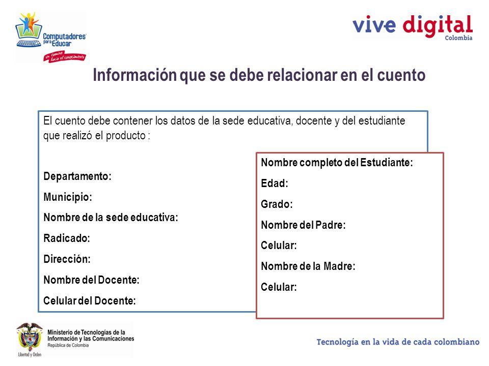 Información que se debe relacionar en el cuento El cuento debe contener los datos de la sede educativa, docente y del estudiante que realizó el produc