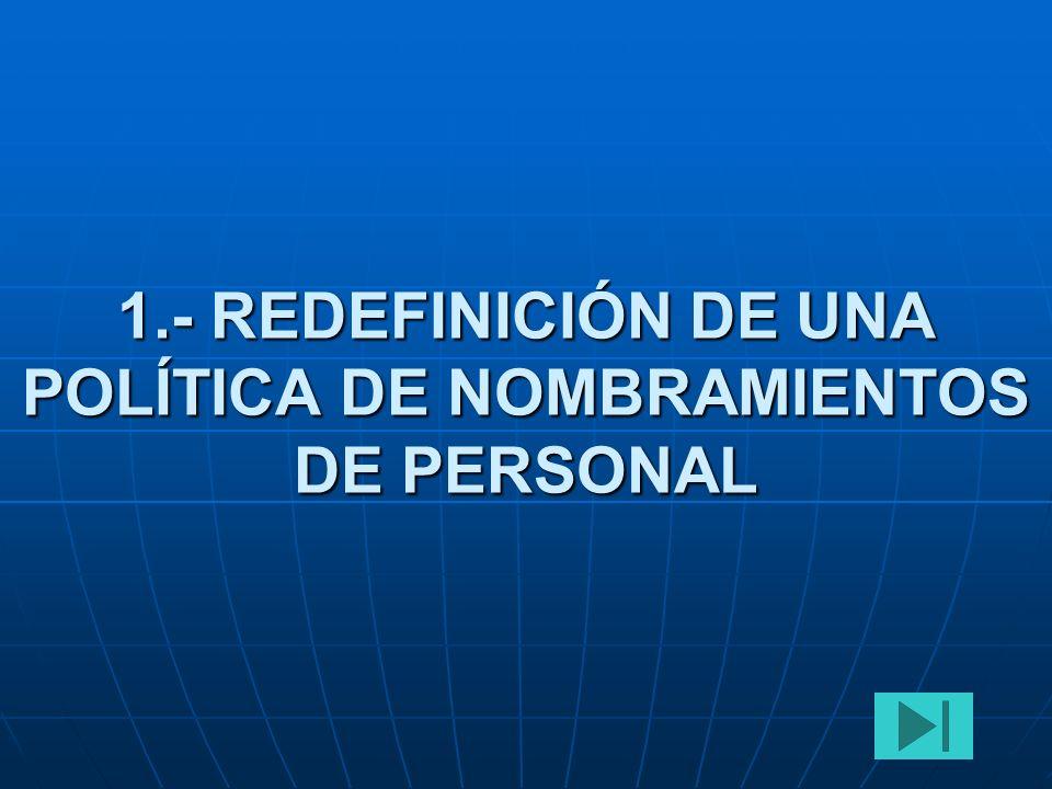 1.- REDEFINICIÓN DE UNA POLÍTICA DE NOMBRAMIENTOS DE PERSONAL