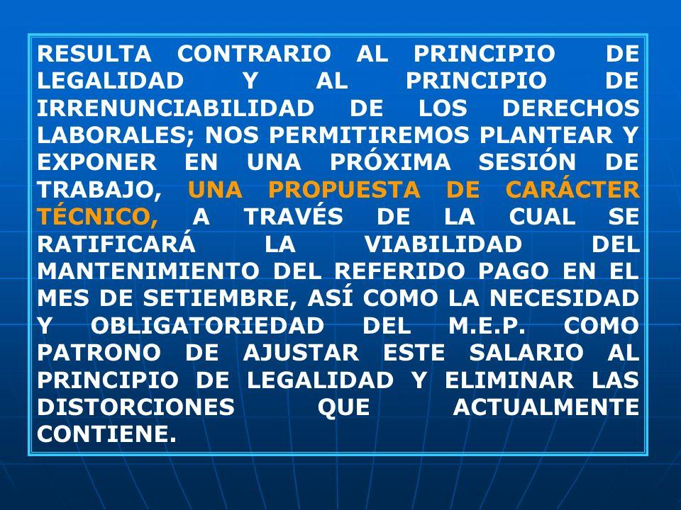 RESULTA CONTRARIO AL PRINCIPIO DE LEGALIDAD Y AL PRINCIPIO DE IRRENUNCIABILIDAD DE LOS DERECHOS LABORALES; NOS PERMITIREMOS PLANTEAR Y EXPONER EN UNA
