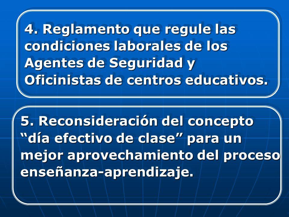 4. Reglamento que regule las condiciones laborales de los Agentes de Seguridad y Oficinistas de centros educativos. 4. Reglamento que regule las condi