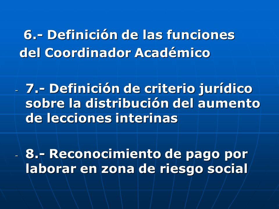 6.- Definición de las funciones 6.- Definición de las funciones del Coordinador Académico del Coordinador Académico - 7.- Definición de criterio juríd