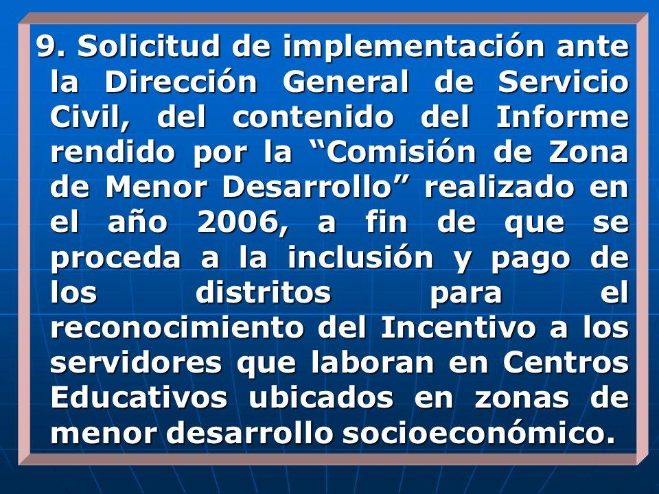 9. Solicitud de implementación ante la Dirección General de Servicio Civil, del contenido del Informe rendido por la Comisión de Zona de Menor Desarro