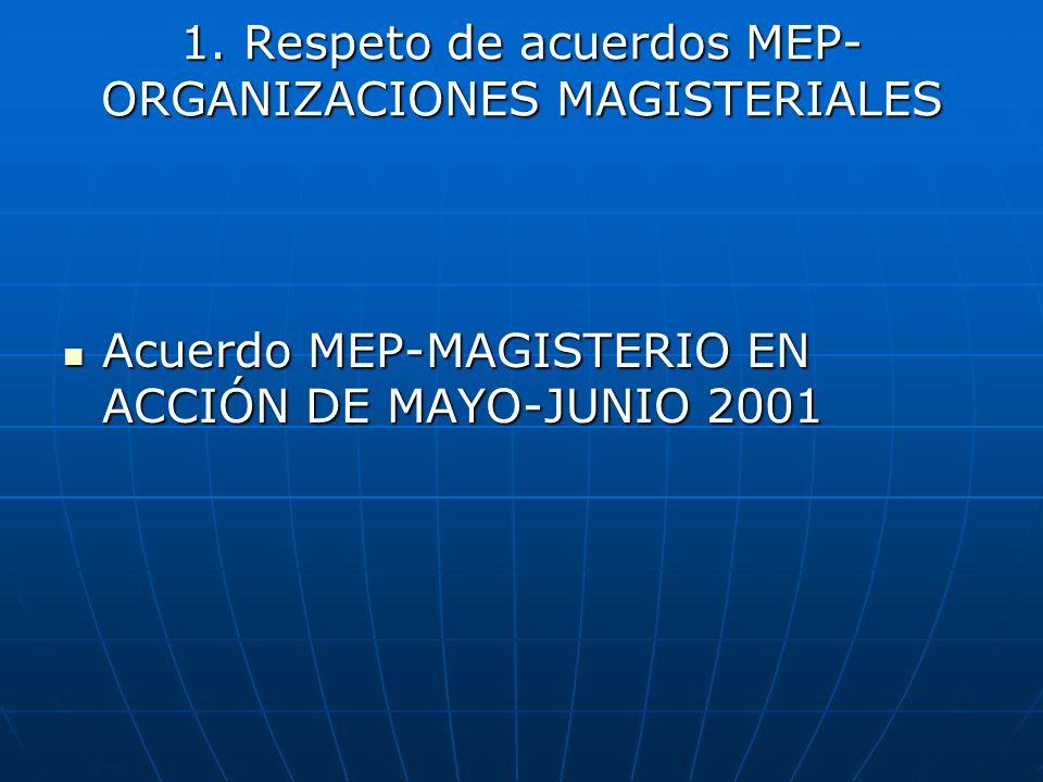 1. Respeto de acuerdos MEP- ORGANIZACIONES MAGISTERIALES Acuerdo MEP-MAGISTERIO EN ACCIÓN DE MAYO-JUNIO 2001 Acuerdo MEP-MAGISTERIO EN ACCIÓN DE MAYO-