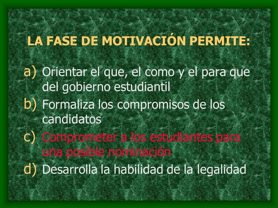 LA FASE DE MOTIVACIÓN PERMITE: a) Orientar el que, el como y el para que del gobierno estudiantil b) Formaliza los compromisos de los candidatos c) Co