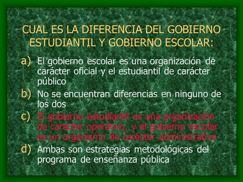 CUAL ES LA DIFERENCIA DEL GOBIERNO ESTUDIANTIL Y GOBIERNO ESCOLAR: a) El gobierno escolar es una organización de carácter oficial y el estudiantil de