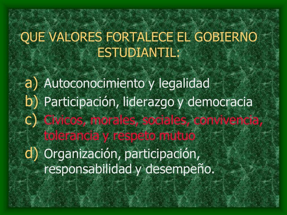 QUE VALORES FORTALECE EL GOBIERNO ESTUDIANTIL: a) Autoconocimiento y legalidad b) Participación, liderazgo y democracia c) Civicos, morales, sociales,