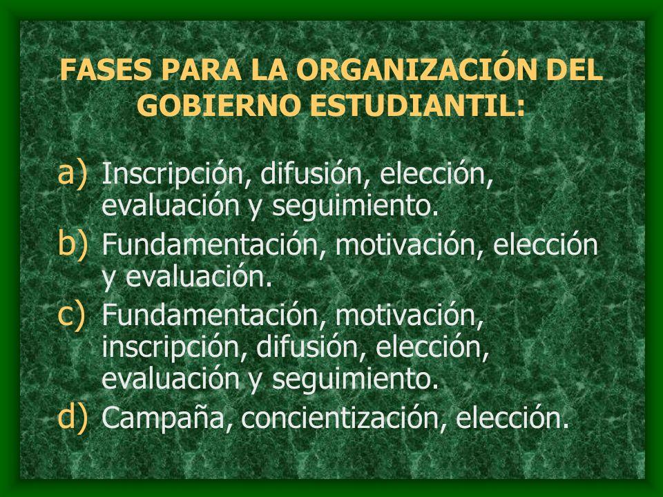 FASES PARA LA ORGANIZACIÓN DEL GOBIERNO ESTUDIANTIL: a) Inscripción, difusión, elección, evaluación y seguimiento. b) Fundamentación, motivación, elec