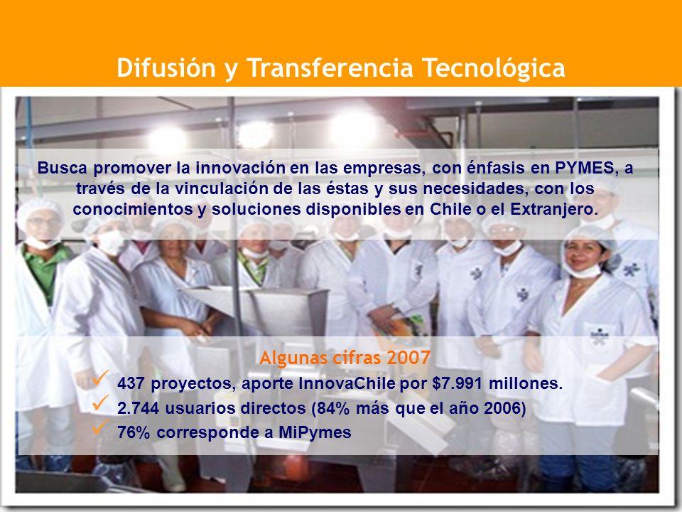 Busca promover la innovación en las empresas, con énfasis en PYMES, a través de la vinculación de las éstas y sus necesidades, con los conocimientos y soluciones disponibles en Chile o el Extranjero.