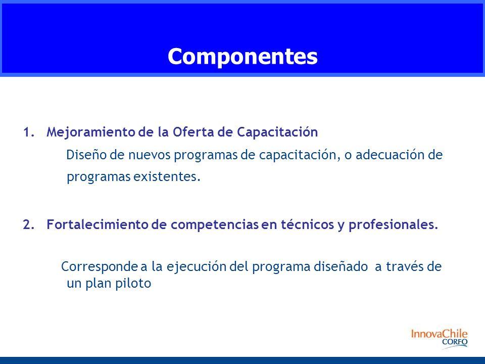 1.Mejoramiento de la Oferta de Capacitación Diseño de nuevos programas de capacitación, o adecuación de programas existentes.