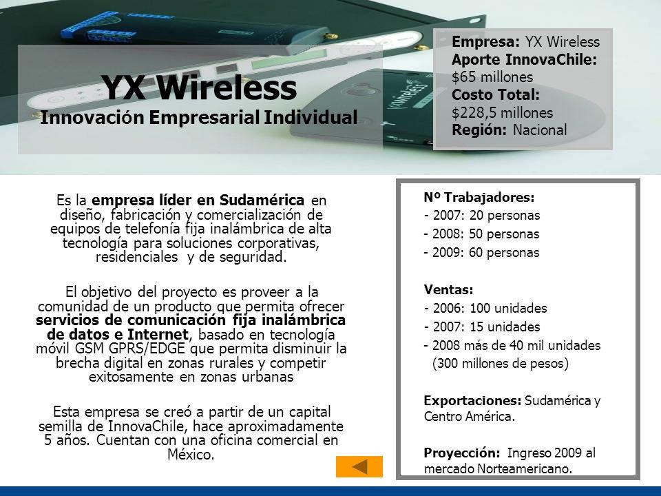 YX Wireless Innovaci ó n Empresarial Individual Es la empresa líder en Sudamérica en diseño, fabricación y comercialización de equipos de telefonía fija inalámbrica de alta tecnología para soluciones corporativas, residenciales y de seguridad.