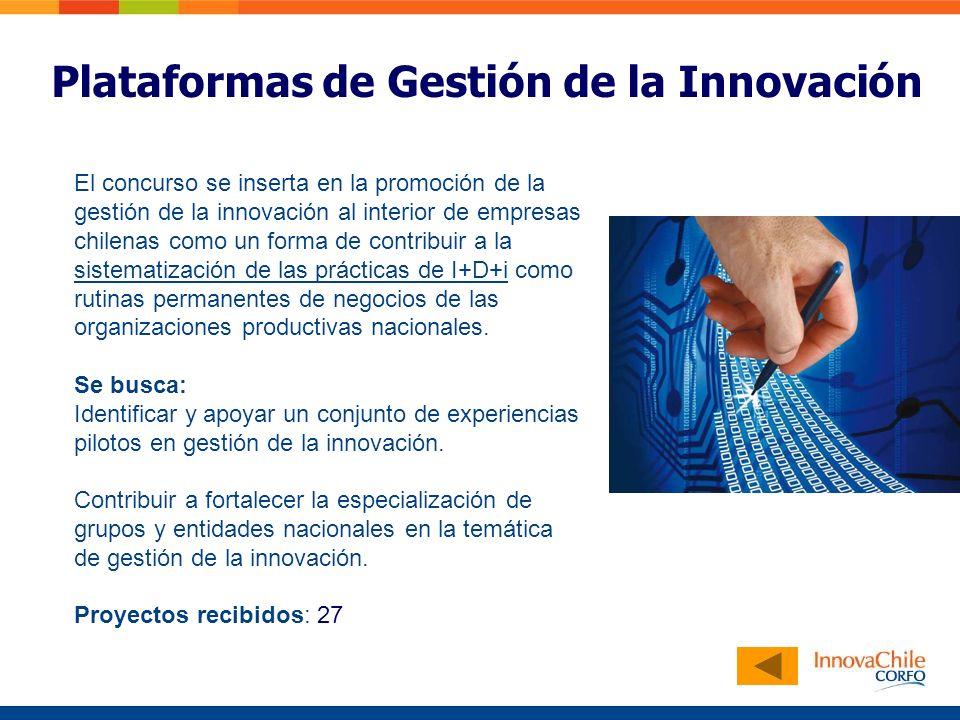 PLATAFORMAS DE NEGOCIOS Plataformas de Gestión de la Innovación El concurso se inserta en la promoción de la gestión de la innovación al interior de empresas chilenas como un forma de contribuir a la sistematización de las prácticas de I+D+i como rutinas permanentes de negocios de las organizaciones productivas nacionales.