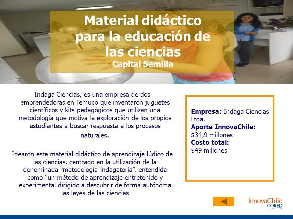 Indaga Ciencias, es una empresa de dos emprendedoras en Temuco que inventaron juguetes científicos y kits pedagógicos que utilizan una metodología que motiva la exploración de los propios estudiantes a buscar respuesta a los procesos naturales.