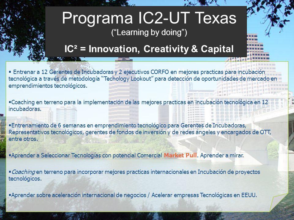 Programa IC2-UT Texas (Learning by doing) IC² = Innovation, Creativity & Capital Entrenar a 12 Gerentes de Incubadoras y 2 ejecutivos CORFO en mejores practicas para incubación tecnológica a través de metodología Techology Lookout para detección de oportunidades de mercado en emprendimientos tecnológicos.