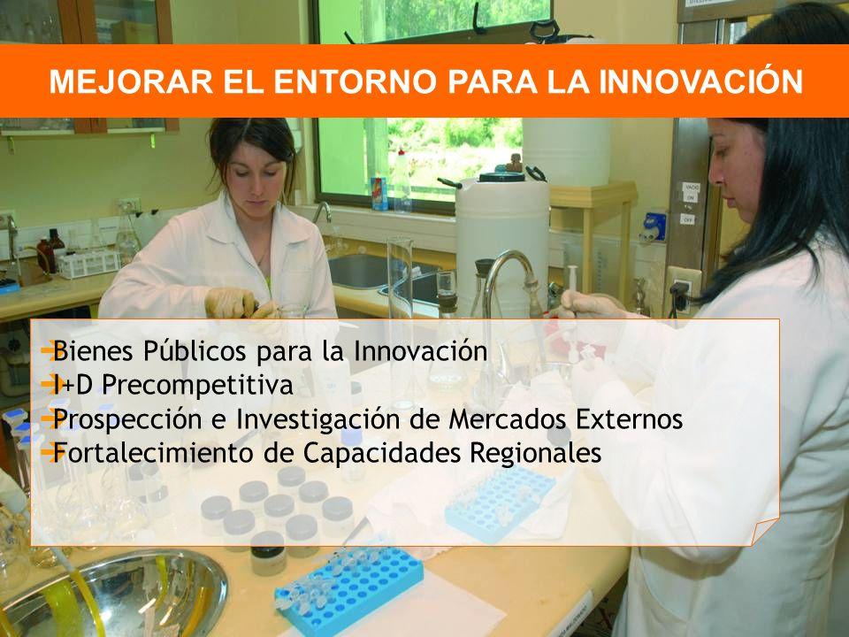MEJORAR EL ENTORNO PARA LA INNOVACIÓN Bienes Públicos para la Innovación I+D Precompetitiva Prospección e Investigación de Mercados Externos Fortalecimiento de Capacidades Regionales