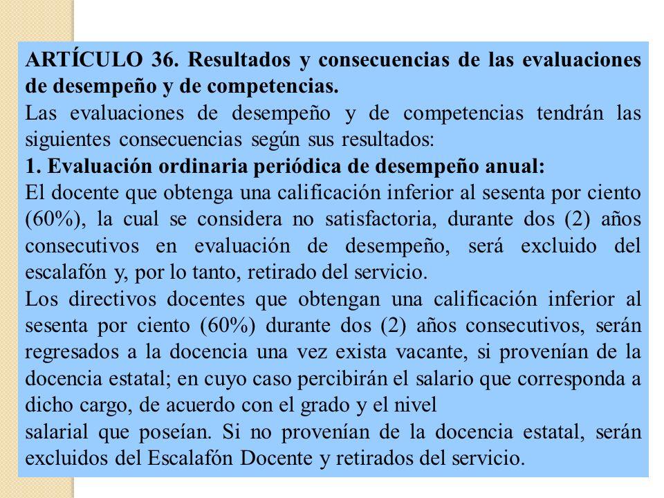 ARTÍCULO 36. Resultados y consecuencias de las evaluaciones de desempeño y de competencias. Las evaluaciones de desempeño y de competencias tendrán la