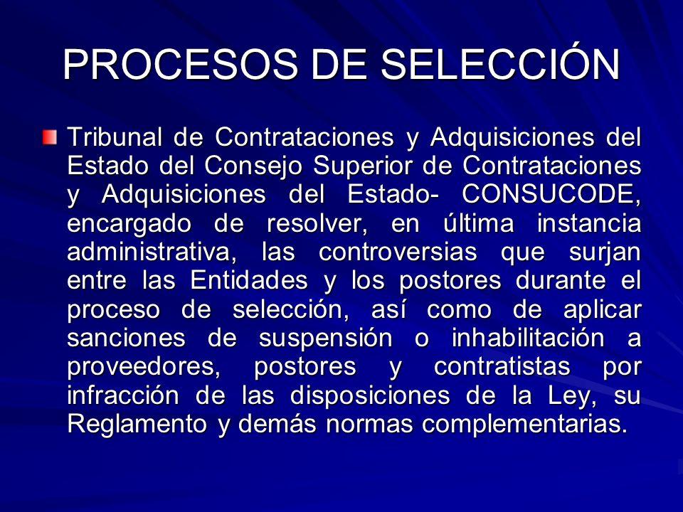 PROCESOS DE SELECCIÓN Tribunal de Contrataciones y Adquisiciones del Estado del Consejo Superior de Contrataciones y Adquisiciones del Estado- CONSUCO