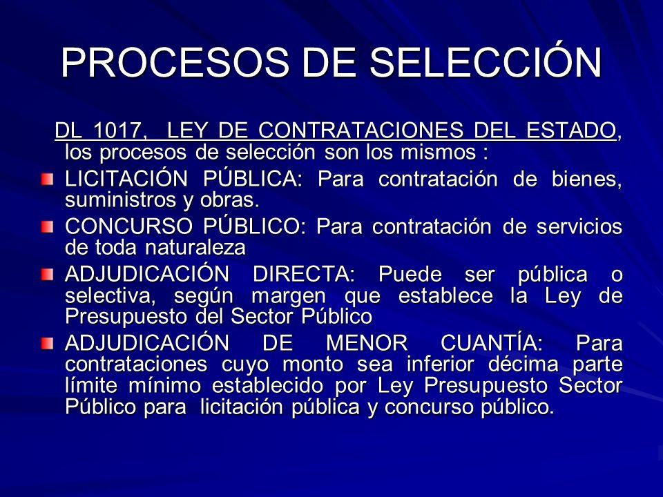 PROCESOS DE SELECCIÓN DL 1017, LEY DE CONTRATACIONES DEL ESTADO, los procesos de selección son los mismos : DL 1017, LEY DE CONTRATACIONES DEL ESTADO,