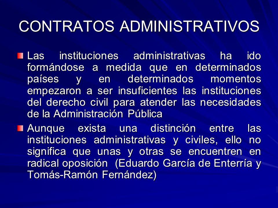 CONTRATOS ADMINISTRATIVOS Las instituciones administrativas ha ido formándose a medida que en determinados países y en determinados momentos empezaron