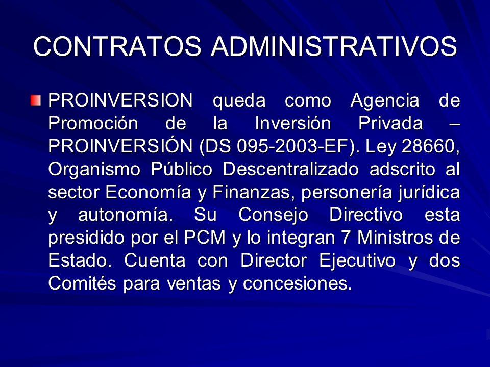 CONTRATOS ADMINISTRATIVOS PROINVERSION queda como Agencia de Promoción de la Inversión Privada – PROINVERSIÓN (DS 095-2003-EF). Ley 28660, Organismo P