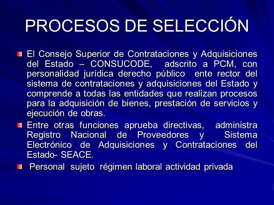 PROCESOS DE SELECCIÓN El Consejo Superior de Contrataciones y Adquisiciones del Estado – CONSUCODE, adscrito a PCM, con personalidad jurídica derecho