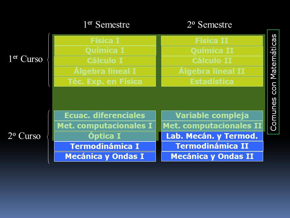Física IFísica II Química I Química II Cálculo ICálculo II Álgebra lineal IÁlgebra lineal II Téc. Exp. en FísicaEstadística 1 er Curso Ecuac. diferenc