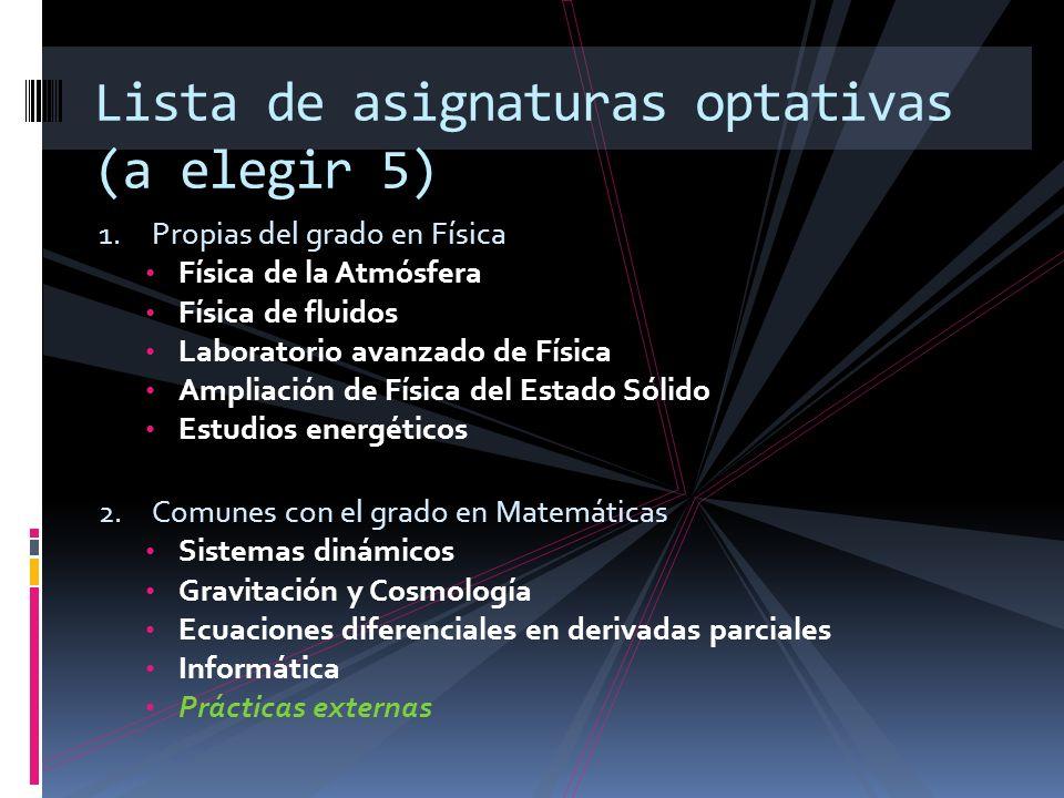 1. Propias del grado en Física Física de la Atmósfera Física de fluidos Laboratorio avanzado de Física Ampliación de Física del Estado Sólido Estudios