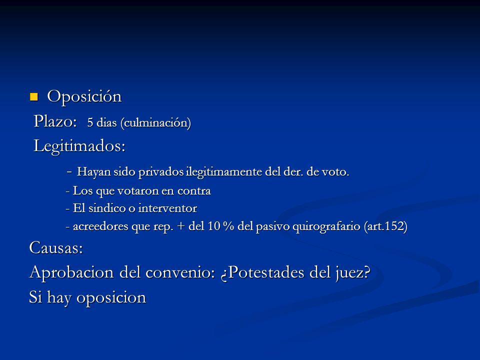 Oposición Oposición Plazo: 5 dias (culminación) Plazo: 5 dias (culminación) Legitimados: Legitimados: - Hayan sido privados ilegitimamente del der.