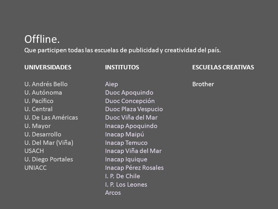 Offline. Que participen todas las escuelas de publicidad y creatividad del país.